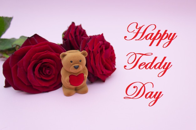 happy teddy day with red heart roses